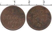 Изображение Монеты Германия Гессен-Дармштадт 1 хеллер 1855 Медь XF-