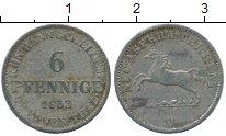 Изображение Монеты Германия Ганновер 6 пфеннигов 1853 Серебро XF