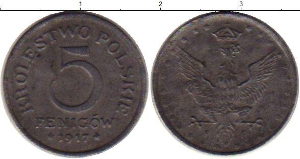Картинка Монеты Польша 5 фенигов Железо 1917