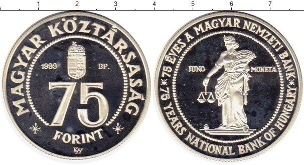 Картинка Монеты Венгрия 75 форинтов Серебро 1999