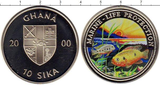 Картинка Монеты Гана 10 сика Медно-никель 2000