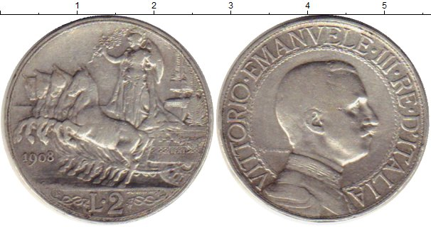 Картинка Монеты Италия 2 лиры Серебро 1908