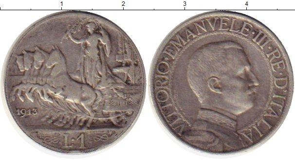 Картинка Монеты Италия 1 лира Серебро 1913