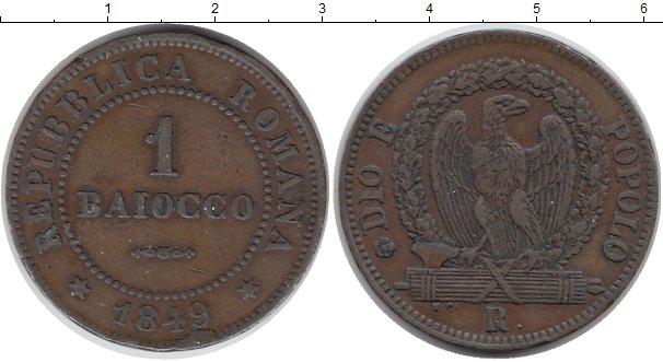 Картинка Монеты Италия 1 байоччи Медь 1849