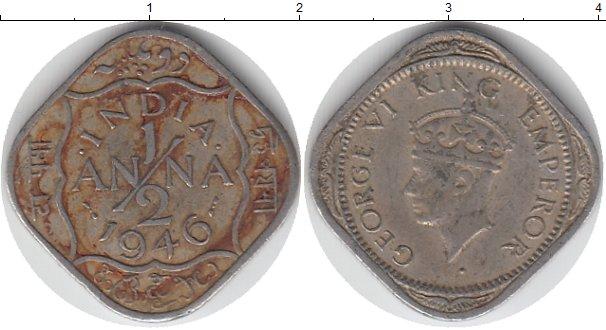 Картинка Монеты Индия 1/2 анны Медно-никель 1946