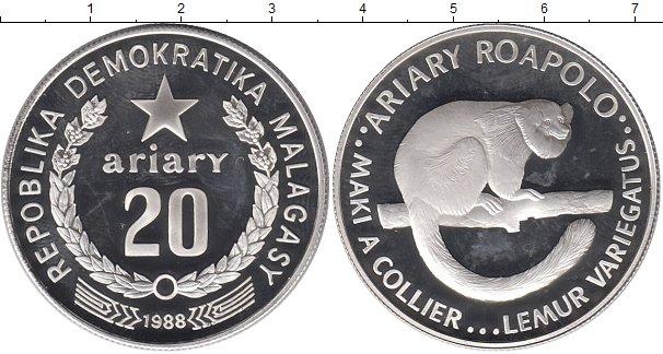 Картинка Монеты Мадагаскар 20 ариари Серебро 1988