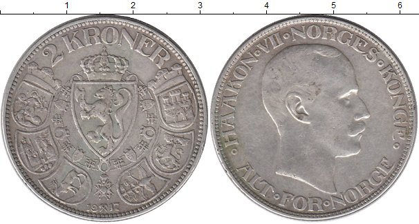 Картинка Монеты Норвегия 2 кроны Серебро 1917