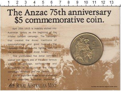Изображение Подарочные монеты Австралия 5 долларов 1990 Латунь XF Елизавета II.  Мемор