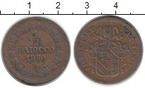 Изображение Монеты Ватикан 1/2 байоччи 1850 Медь VF