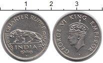 Изображение Монеты Индия 1/4 рупии 1946 Медно-никель UNC-