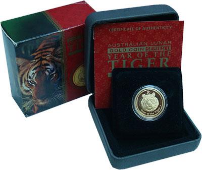 Изображение Мелочь Австралия 25 долларов 2010 Золото Proof Год тигра (КМ# 1322