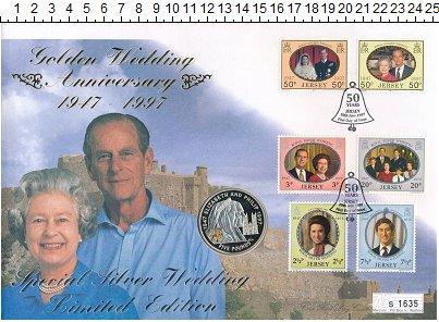 Изображение Подарочные монеты Остров Джерси 5 фунтов 1997 Серебро Proof Елизавета II.  Золот