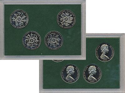 Изображение Подарочные монеты Остров Мэн Олимпийские игры в Москве 80 1980 Медно-никель UNC Подарочный набор пос