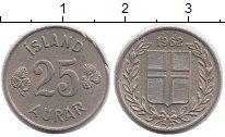 Изображение Монеты Исландия 25 аурар 1962 Медно-никель XF