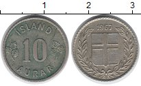 Изображение Монеты Исландия 10 аурар 1967 Медно-никель XF