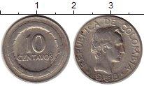 Изображение Монеты Колумбия 10 сентаво 1968 Медно-никель XF