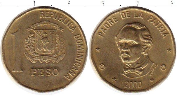 Картинка Монеты Доминиканская республика 1 песо Латунь 2000