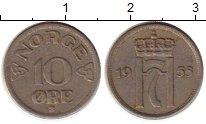 Изображение Монеты Норвегия 10 эре 1955 Медно-никель XF