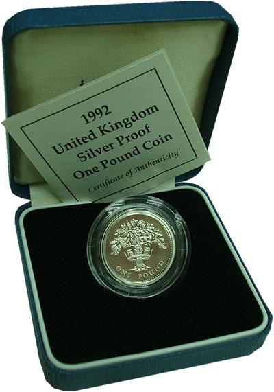 Изображение Подарочные монеты Великобритания 1 фунт 1992 Серебро Proof Елизавета II.<br><b