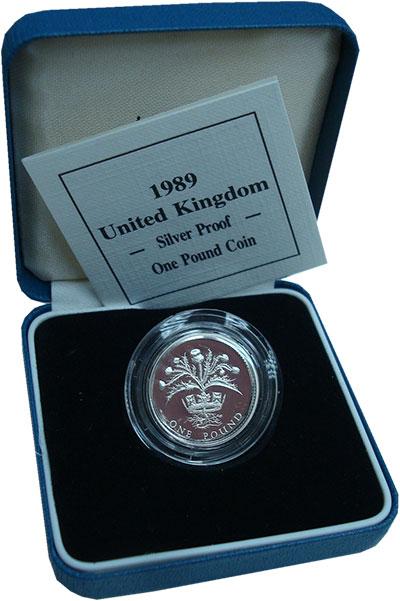 Изображение Подарочные монеты Великобритания 1 фунт 1989 Серебро Proof Подарочный набор сос