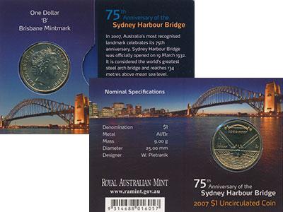 Изображение Подарочные монеты Австралия 1 доллар 2007 Латунь UNC Елизавета II. 75 - л
