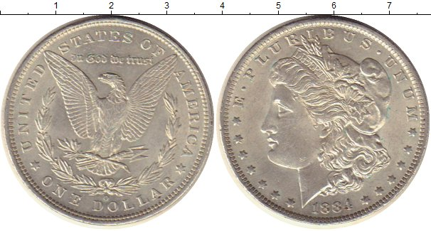 Картинка Монеты США 1 доллар Серебро 1884