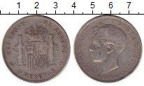 Изображение Монеты Испания 5 песет 1898 Серебро XF-