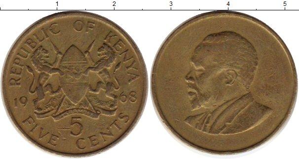 Картинка Монеты Кения 5 центов Латунь 1968