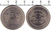 Изображение Монеты Колумбия 5 песо 1971 Медно-никель UNC-
