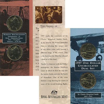 Изображение Подарочные монеты Австралия 1 доллар 1997 Латунь UNC Две монеты номиналом