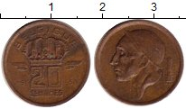 Изображение Монеты Бельгия 20 сантим 1953 Бронза XF