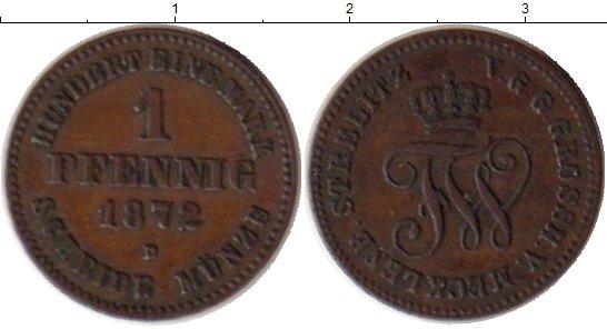 Картинка Монеты Мекленбург-Стрелитц 1 пфенниг Медь 1872