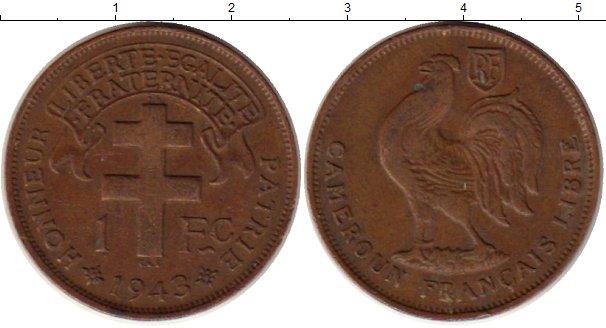 Картинка Монеты Камерун 1 франк Бронза 1943