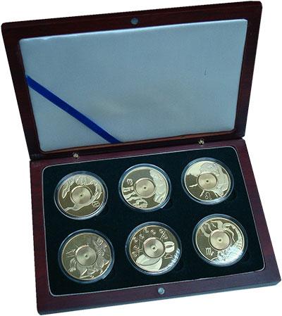 Изображение Подарочные монеты Острова Кука Знаки Зодиака 2003 Медно-никель Proof `В набор входят шест