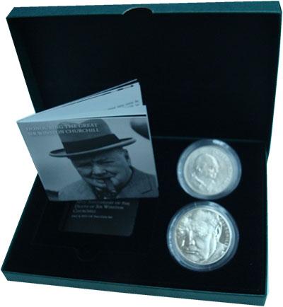 Изображение Подарочные монеты Великобритания Уинстон Черчилль 2015 Медно-никель UNC Набор посвящен 65-ле