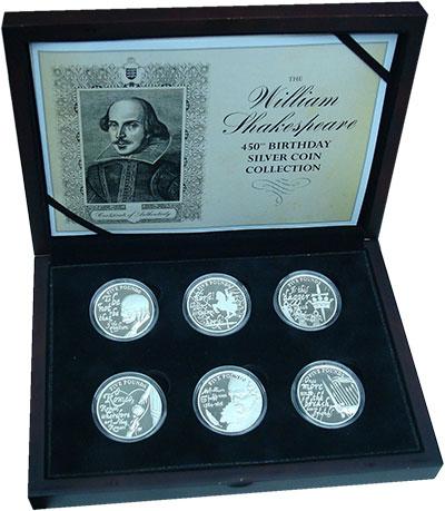 Изображение Подарочные монеты Остров Джерси Уильям Шекспир 2014 Серебро Proof Набор 5-фунтовых мон