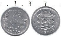 Изображение Монеты Люксембург 25 сантим 1970 Алюминий XF