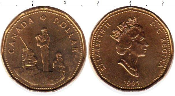 Картинка Монеты Канада 1 доллар Латунь 1995