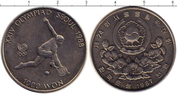 Картинка Монеты Южная Корея 1.000 вон Медно-никель 1987