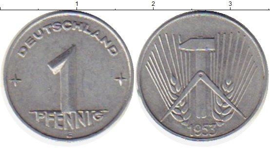 Картинка Монеты ГДР 1 пфенниг Алюминий 1953