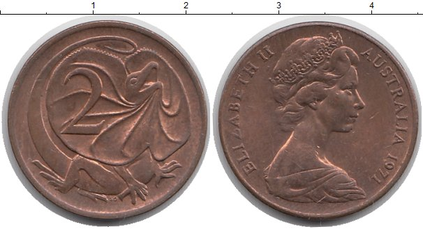Картинка Монеты Австралия 2 цента Бронза 1971