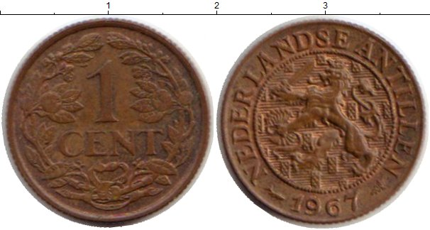 Картинка Монеты Антильские острова 1 цент Медь 1967