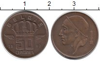Изображение Монеты Бельгия 50 сантим 1980 Бронза XF
