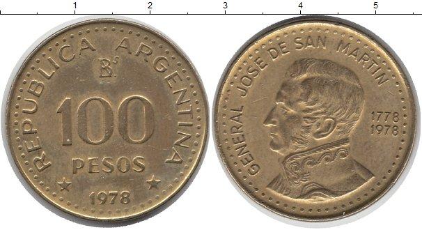 Картинка Монеты Аргентина 100 песо Латунь 1978