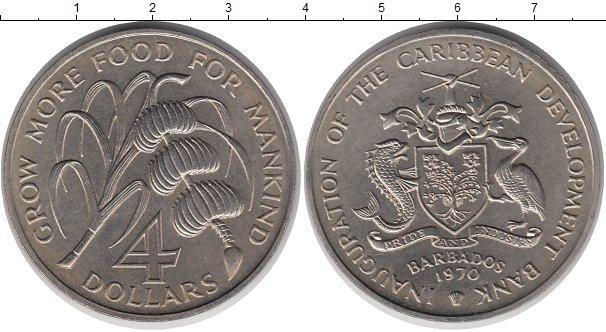 Картинка Монеты Барбадос 4 доллара Медно-никель 1970