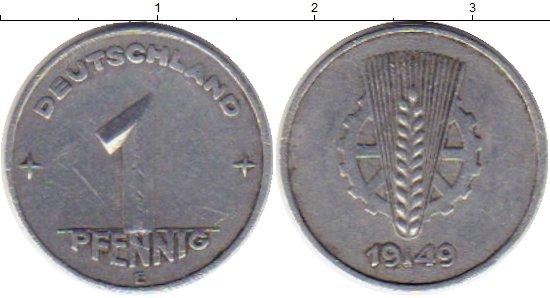 Картинка Монеты ГДР 1 пфенниг Алюминий 1949