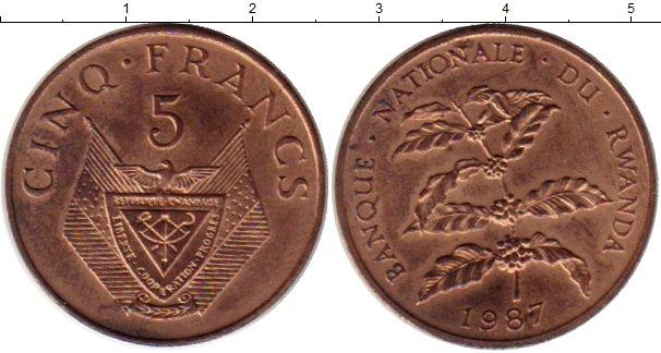 Картинка Монеты Руанда 5 франков Бронза 1987