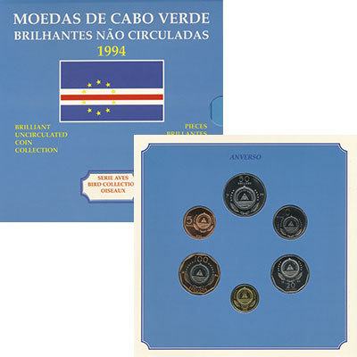 Изображение Подарочные монеты Кабо-Верде Набор 1994 года, Птицы 1994  UNC Набор из шести монет