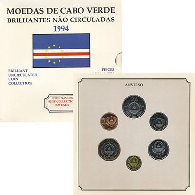 Изображение Подарочные монеты Кабо-Верде Набор 1994 года, Корабли 1994  Proof
