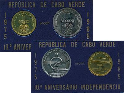 Изображение Подарочные монеты Кабо-Верде 10 лет Независимости 1985  Proof Набор из двух монет